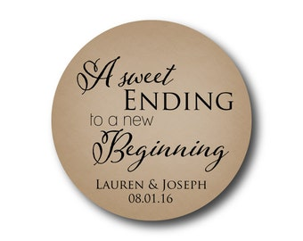 Kraft Wedding Favor Stickers Rustic Wedding Ideas A Sweet Ending to a New Beginning Kraft Round Labels Brown Paper Stickers