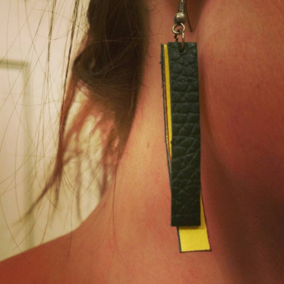 Green and Yellow Leather Dangle Earrings