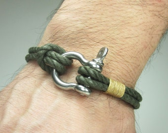 EXPRESS SHIPPING Men's Bracelet / Nautical Sailing Bracelet Stainless steel Shackle - Green- Beige Rope Bracelet- Women's Bracelet