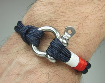 EXPRESS SHIPPING Paracord Bracelet in Navy Blue Survival Bracelet /Nautical Sailing Bracelet Stainless steel Shackle-Mens Bracelet-White Red