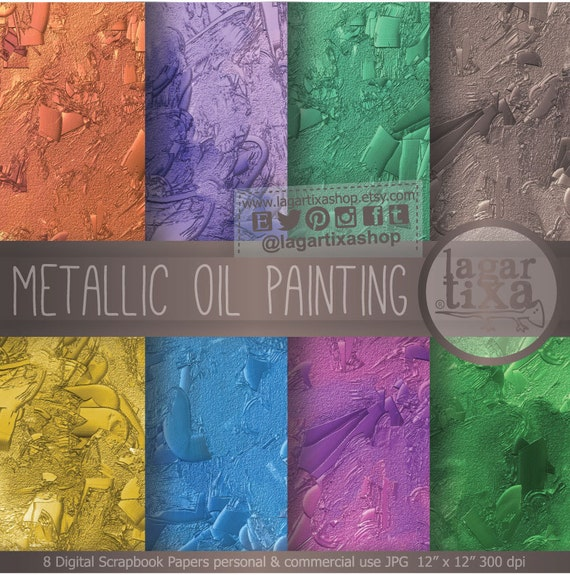 Oil painting metallic texture patterns gold silver pink blue for Oil painting patterns