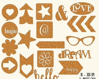"Cork Clip art Elements ""CORK CLIPS"" cork, arrow, heart, hello, words, dream, arrow cuts, circle, square, flower, sunglasses, wedding, baby"