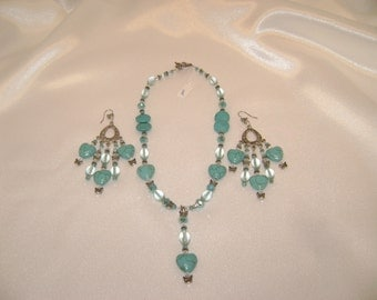 Turquoise Hearts and Butterflies necklace and earring set - 102