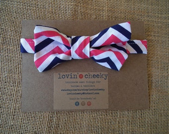 Toddler/Baby Bow Tie - Pink and Navy Chevrons