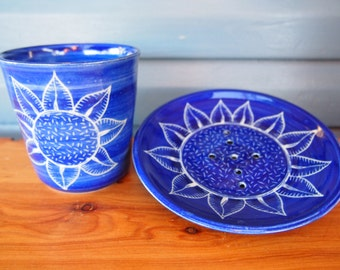 Soap dish and Toothbrush holder bathroom set royal blue sunflower design