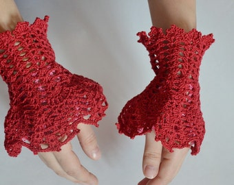 Crochet cuffs / Fingerless / Gloves / Mittens / for Romantic / Boho/ Rustic / Vampire / Empire style