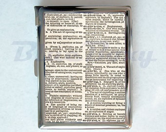 Dictionary Cigarette Case with Lighter, Cigarette Box, Card Holder