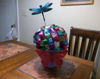 PRICE REDUCED!  Happy Spring!  Ribbon Topiary Centerpiece