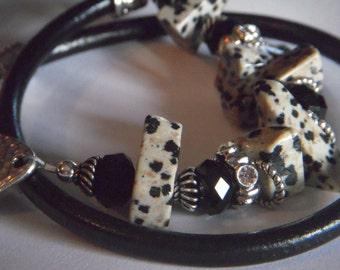 Boho dalmation jasper and black crystal leather wrap bracelet