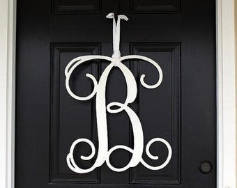 Painted Monogram Door Hanger Wooden Monogram Initials Monogram Door Wreath Wooden Letters Wall