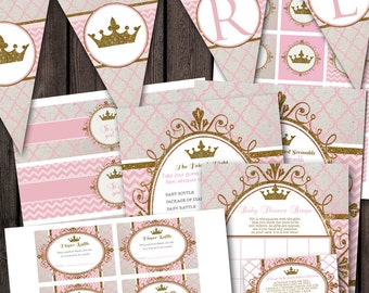 pink gold royal princess baby shower party package banner, shower games, pink and gold princess baby shower games, thank you cards water