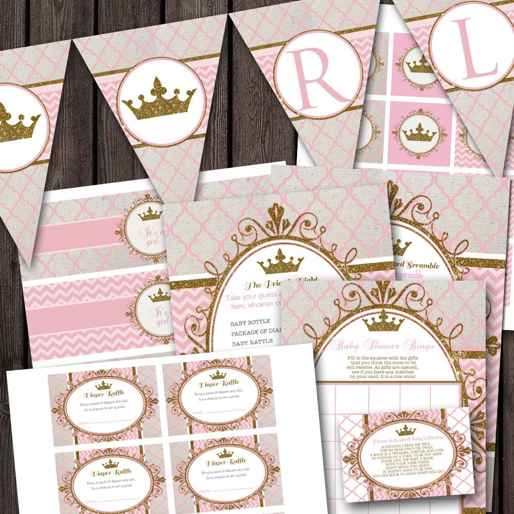 Baby Shower Themes Packages ~ Pink gold royal princess baby shower party package banner