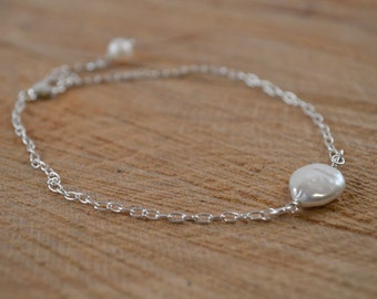 Pearl Sterling Silver Anklet, Coin Pearl, Silver Anklet, Summer, June Birthday, Freshwater Pearl, Beach, Wedding, Bridesmaid