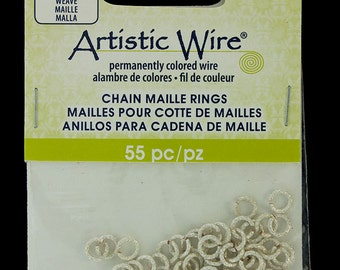 """Artistic Wire Weave Silver Color Jump Ring 3.5mm ID (9/64"""") 18ga (900AWSW-04)"""