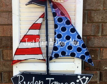 Sailboat Door Hanger, Baby Boy Hanger, Teacher Door Hanger