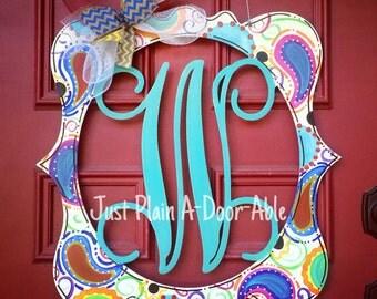 Paisley Framed Initial Monogram, Welcome Door Hanger, Housewarming