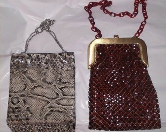 MOD Mesh Flapper Style Whiting & Davis Purse Lot--Vintage Snakeskin and Red DECO Design Bags ~Sale!