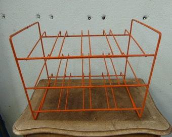 Carry(Wear) metal bottles coated orange plastic(plastic art) For 12 bottles Vintage on 1970