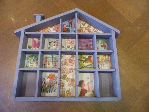 Maison etagere vitrine pour miniatures relook e avec du - Etagere pour collection ...