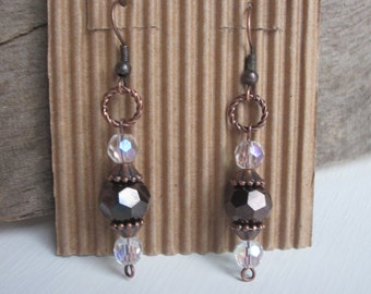 Elegant bohemian earrings crystal AB faceted glass, deep dark chocolate merlot faceted glass copper earrings moroccan  earrings