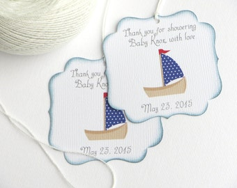 Nautical Baby shower favor tags, Sailboat baby shower thank you tags, Custom baby shower gift tag, Nautical Birthday Party favor tags