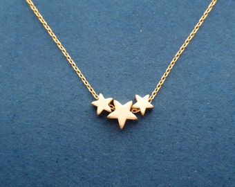 Tiny, Triple, Star, Gold, Silver, Necklace, Modern, Minimal, Dainty, Star, Jewelry, Friends, Lovers, Sister, Gift, Accessory, Jewelry
