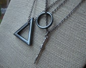 The Deathly Hallows Friendship Necklace Set - Harry Potter THREE NECKLACES SET w/ Black Hematite Triangle, Ring and Wizard Wand - hp Fandom