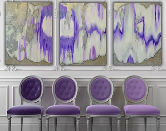 "Set of 3 Large Canvas Painting Gray, Silver, Purple Ikat Ombre Glitter with Glass and Resin Coat 36"" x 48"" real Silver leaf"