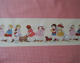 "Half Yard of Lecien Petite Marianne Retro Children Red Gingham Border Fabric. Approx. 18"" x 44"" Made in Japan"