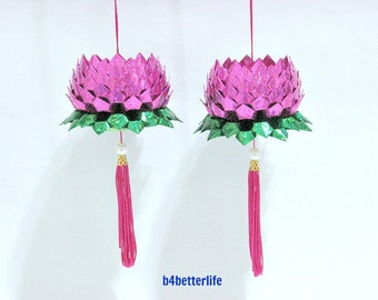 A Pair Of Pink Color Medium Size Origami Hanging Lotus. (4D Glittering paper series). #FLT-80.
