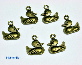 "Lot of 24pcs Double Sided Antique Bronze Tone ""Duck"" Metal Charms. #BC3421."