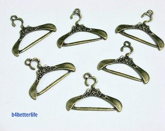 "Lot of 24pcs Antique Bronze Tone ""Cloth Hanger"" Metal Charms. #BC2651."