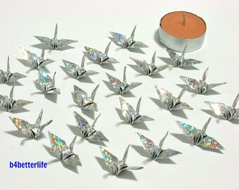 "100pcs Silver Color Origami Cranes Hand-folded From 1.5""x1.5"" Square Paper. (4D Glittering paper series). #FC15-15."