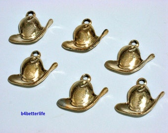 """Lot of 24pcs """"Cowboy Hat"""" Gold Color Plated Metal Charms. #XX233."""