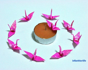 "100pcs Pink Color 1.5 Inch Origami Cranes Hand-folded From 1.5""x1.5"" Square Paper. (CY paper series). #FC15-13."