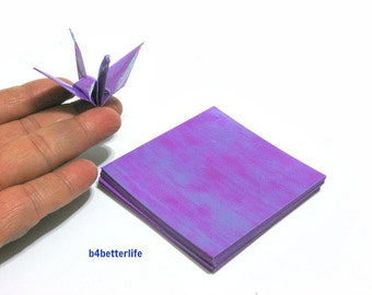 "100 Sheets 3"" x 3"" Purple Color DIY Chiyogami Yuzen Paper Folding Kit for Origami Cranes ""Tsuru"". (AV paper series). #CRK-58."
