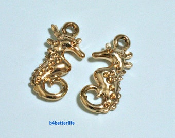 """Lot of 24pcs Double Sided """"Seahorse"""" Gold Color Plated Metal Charms. #XX106."""