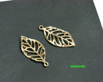 """Lot of 24pcs Double Sided """"Leaf"""" Gold Color Plated Metal Charms. #XX255g."""