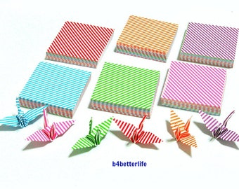 """350 Sheets 3.2cm x 3.2cm Assorted Colors DIY Chiyogami Yuzen Paper Folding Kit for Origami Cranes """"Tsuru"""". #MD106. (MD paper series)."""