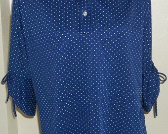 Vintage Navy Blue and White Polka Dotted Pullover Blouse with Tie Up Sleeves