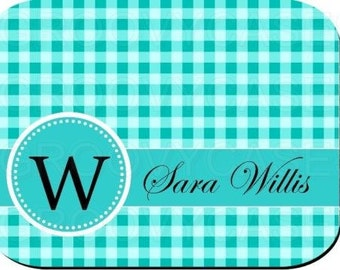 Personalized Mouse Pad Gingham Pattern