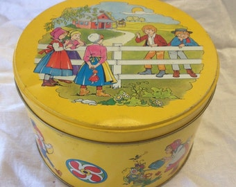 10% OFF SALE Yellow Vintage Tin with Children
