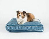 Navy Blue and Light Blue Geometric Square Dog Bed by FILLYDOG