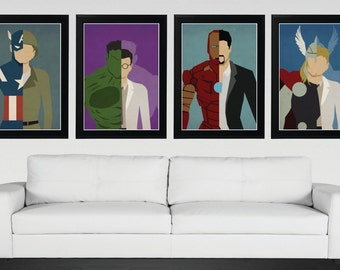 Superhero, Avengers Alter Ego - Minimalist, Vintage,Retro Movie Poster 4 Set