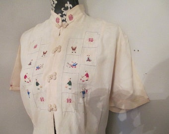 Vintage All Silk Embrodied Blouse