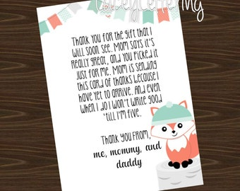 Fox Thank You from Baby Blank Thank You