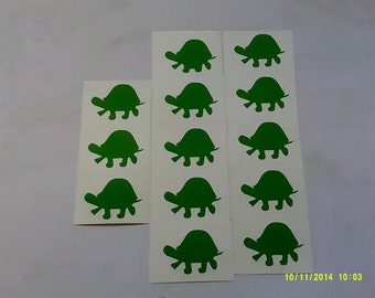 10 - 100  Green Tortoise stickers - great for kids - stick on lots of things   animal