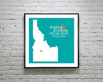 Idaho Wedding Gift Custom State Map Personalized Couple Art Personalized Idaho Map State Map Art Personalized
