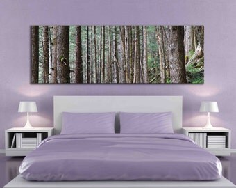 Pine tree panoramic wall print Alaska decal forest nature photography 20 x 60 inch 12 x 36 canvas decoration living room over the couch art
