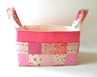 Patchwork Pink Caddy with Storage Pockets Lined in Eco Friendly Cotton, Diaper Caddy Country Cottage Style Decor